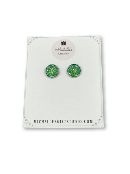 Green Faux Druzy Earrings - Michelle's Gift Studio