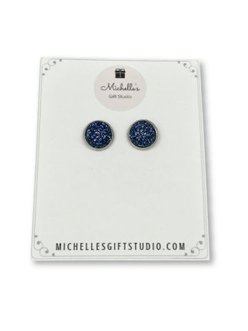 Dark Blue Faux Druzy Earrings Earrings- Michelle's Gift Studio