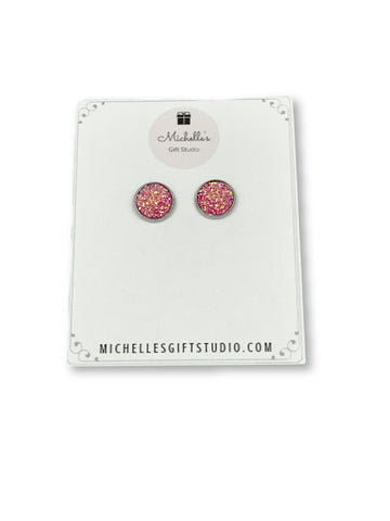 Pink Faux Druzy Earrings Earrings- Michelle's Gift Studio
