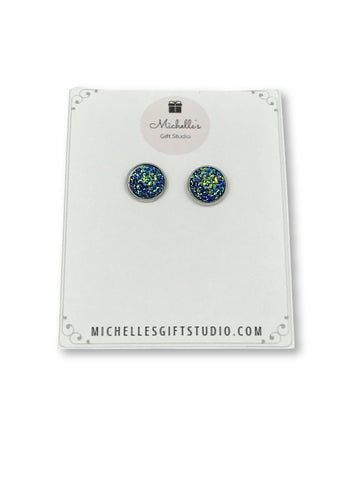 Multi-Colored Blue Faux Druzy Earrings Earrings- Michelle's Gift Studio