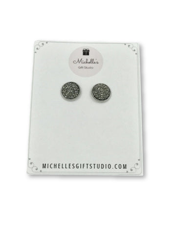 Silver Faux Druzy Earrings Earrings- Michelle's Gift Studio