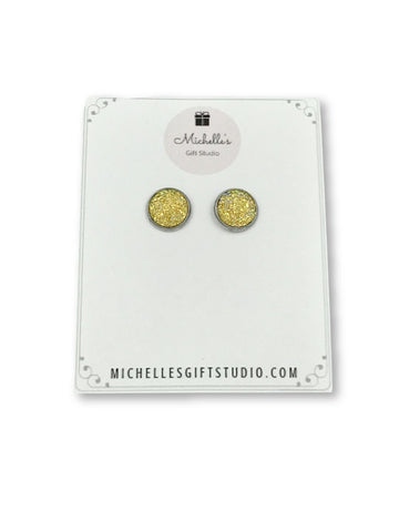 Yellow Faux Druzy Earrings Earrings- Michelle's Gift Studio