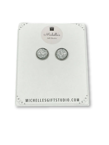 Diamond Faux Druzy Earrings Earrings- Michelle's Gift Studio