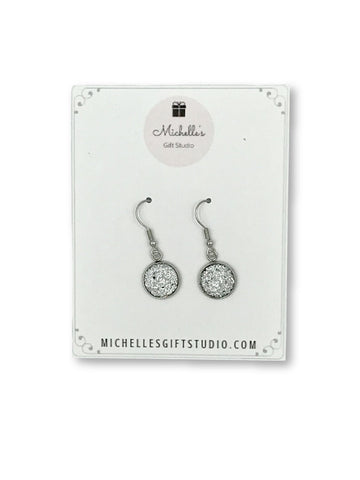 Diamond Faux Druzy Dangle Earrings Earrings- Michelle's Gift Studio