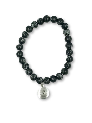 Black Glass Bead Bracelet Bracelet- Michelle's Gift Studio
