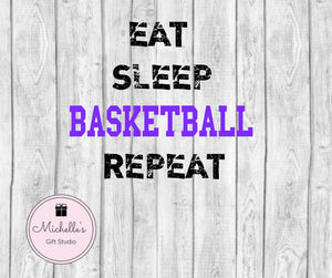 Eat Sleep Basketball Repeat svg | Basketball svg | Eat svg | Sleep svg | Basketball Shirt | Basketball Tote Bag | Basketball Fan - Michelle's Gift Studio