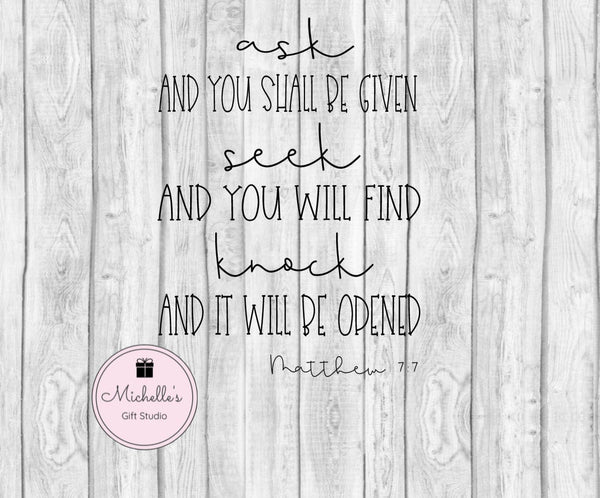 Ask seek knock svg, Bible svg, Bible verse svg, quotes svg, spiritual svg, religious svg, Bible verse cut file, religious cut file - Michelle's Gift Studio