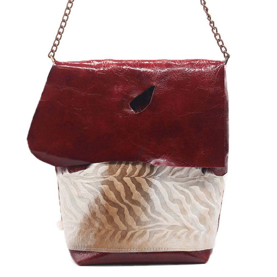 Chain leather crossbody Burgundy cowhide