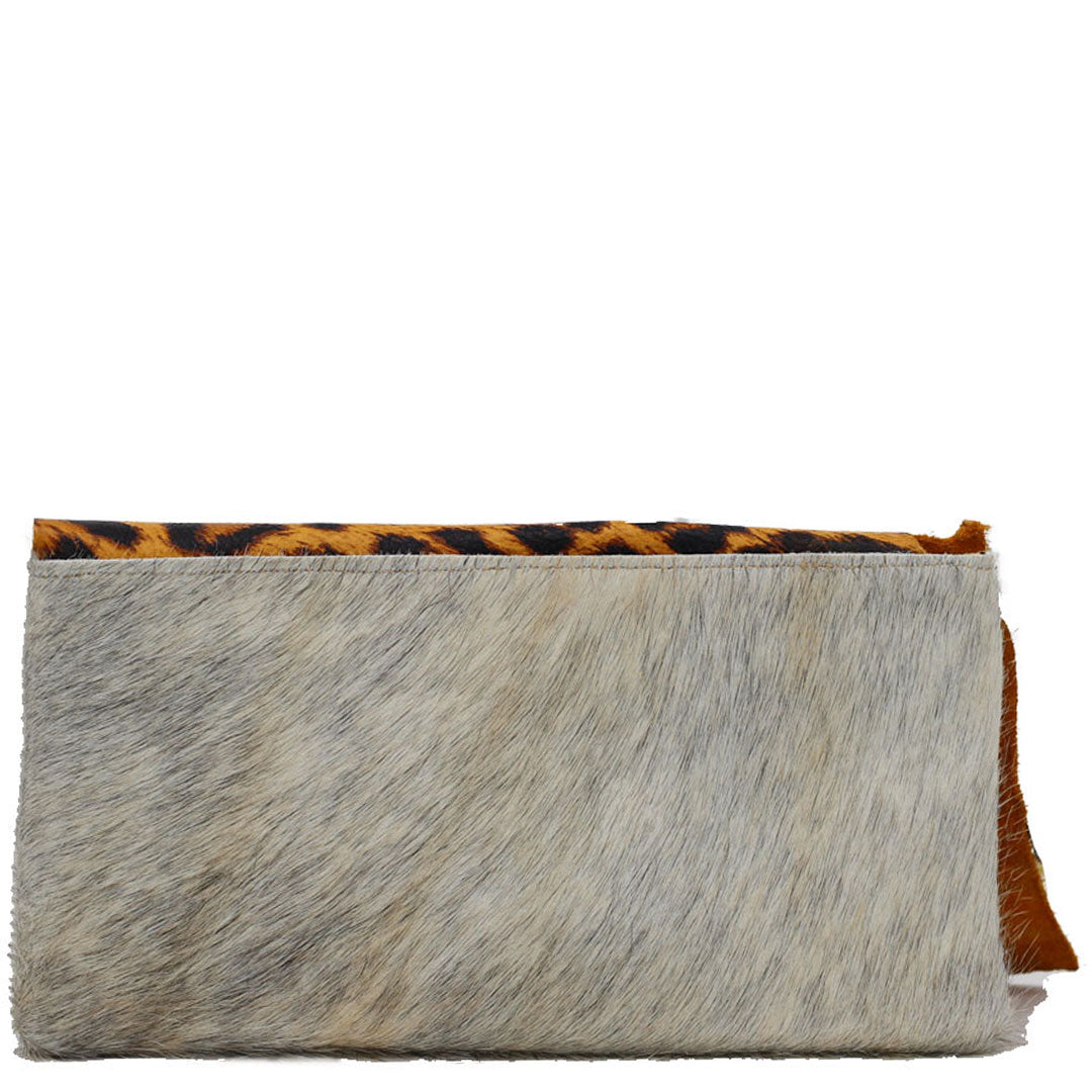 Clutch bag made with cheetah print