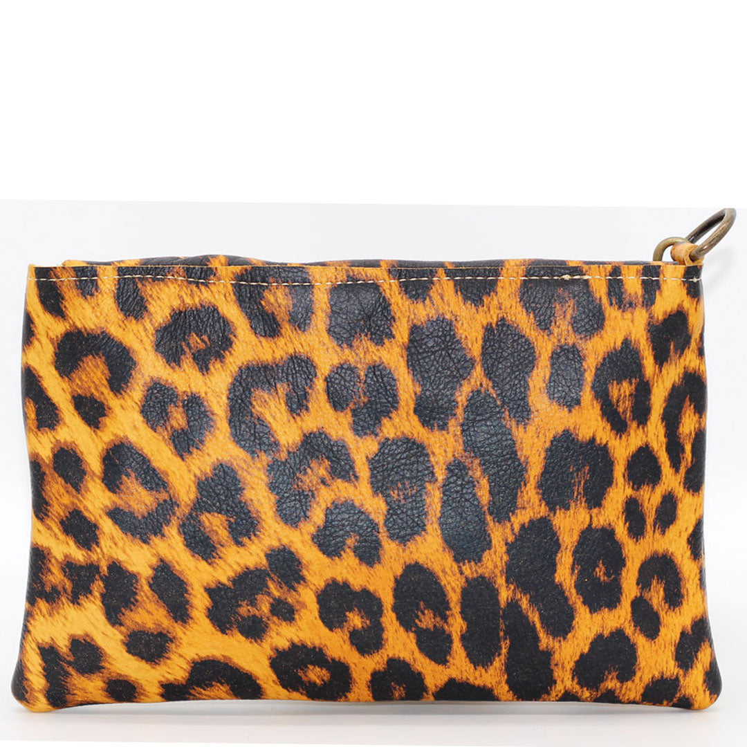 leather clutch wallet cheetah print wristlet