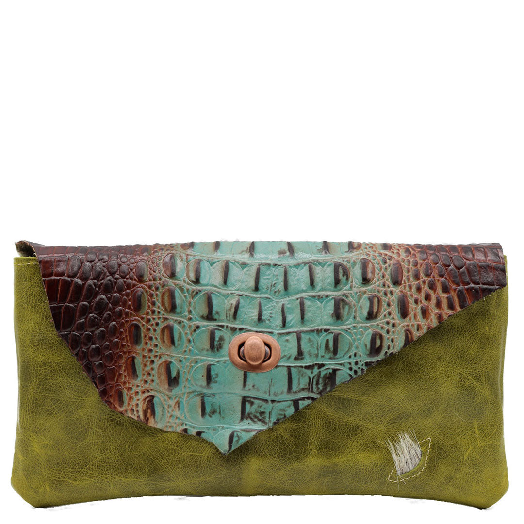 clutch bag noveled leather, holds phone, wallet, make up and more