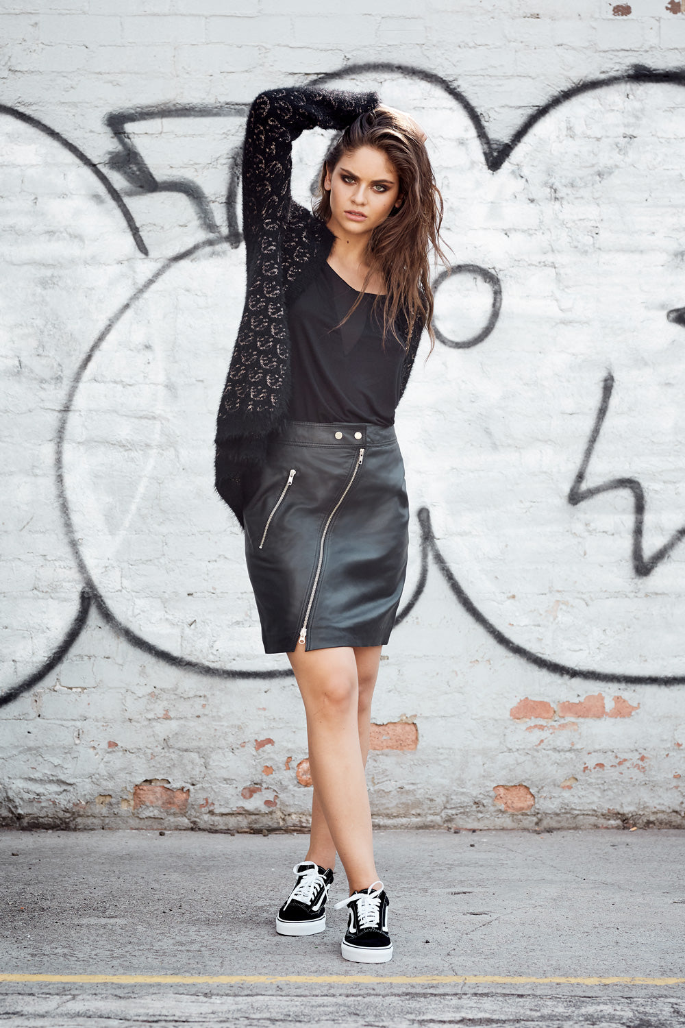 Saint Rose Leather skirt