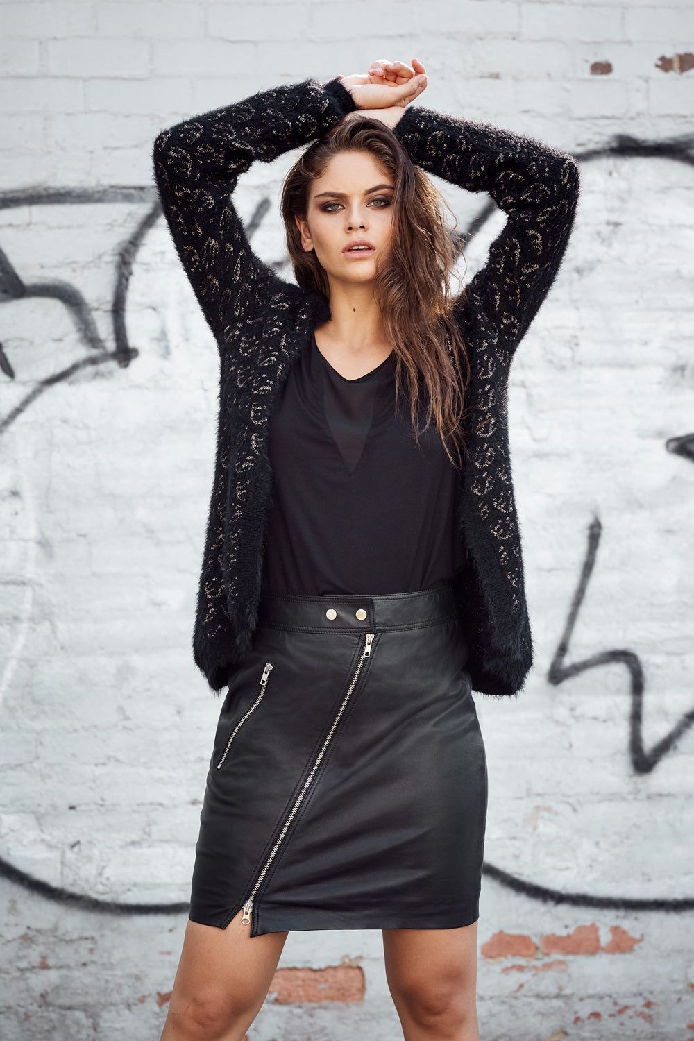 BROOKLYN ZIP FRONT LEATHER SKIRT