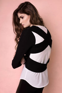 Saint Rose Black and white cross-over knit