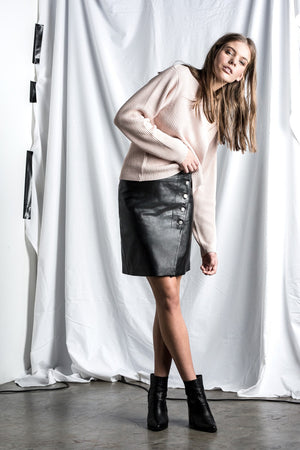 IMOGEN LEATHER WRAP SKIRT
