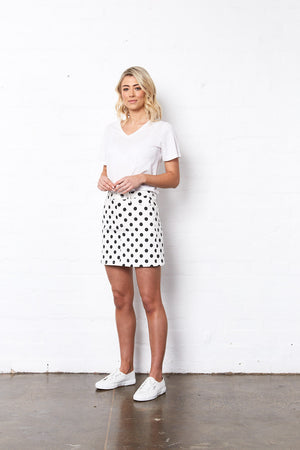 HOLLY SPOT DENIM SKIRT