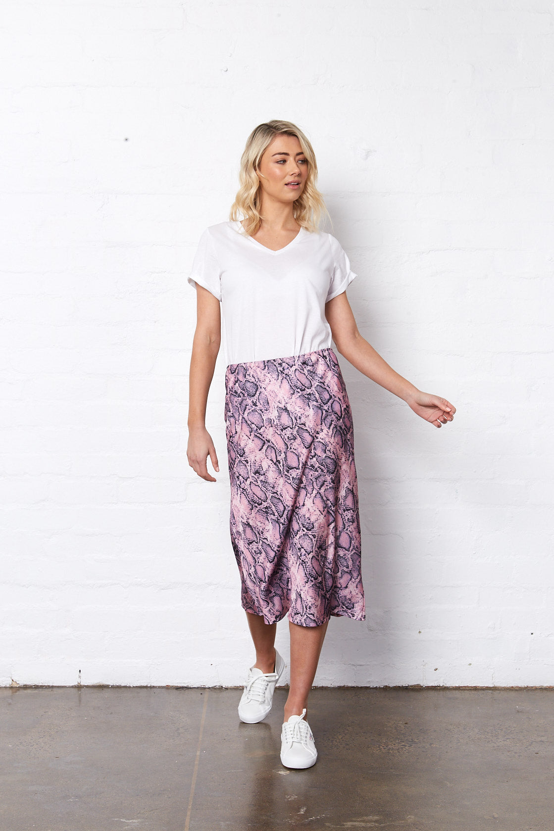 BELLA MIDI SKIRT - PINK SNAKEPRINT
