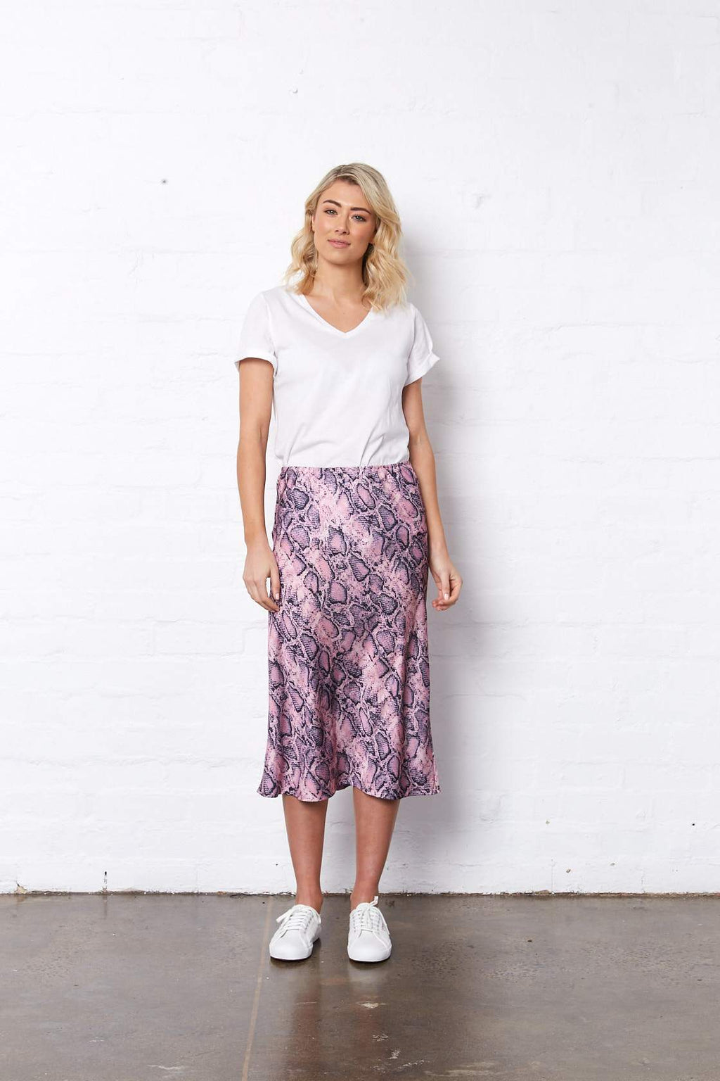 BELLA MIDI SKIRT PINK SNAKEPRINT
