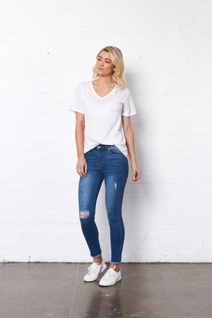 Saint Rose blue jeans with rips