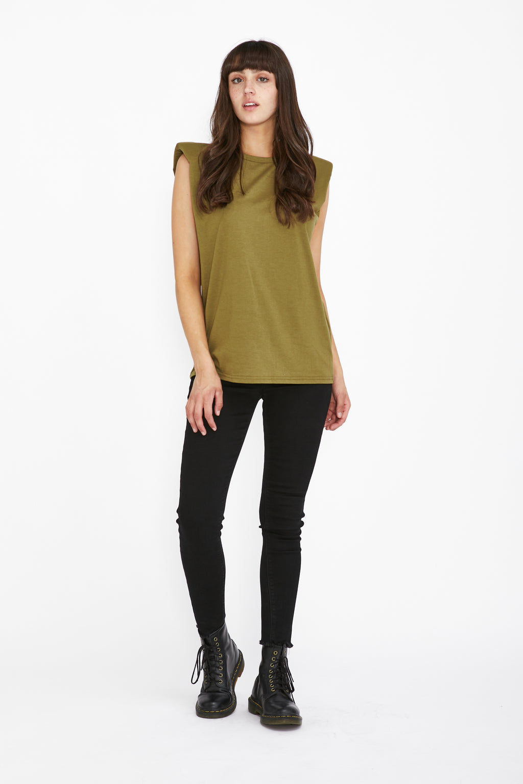 LIVIA SHOULDER DETAIL TEE - OLIVE