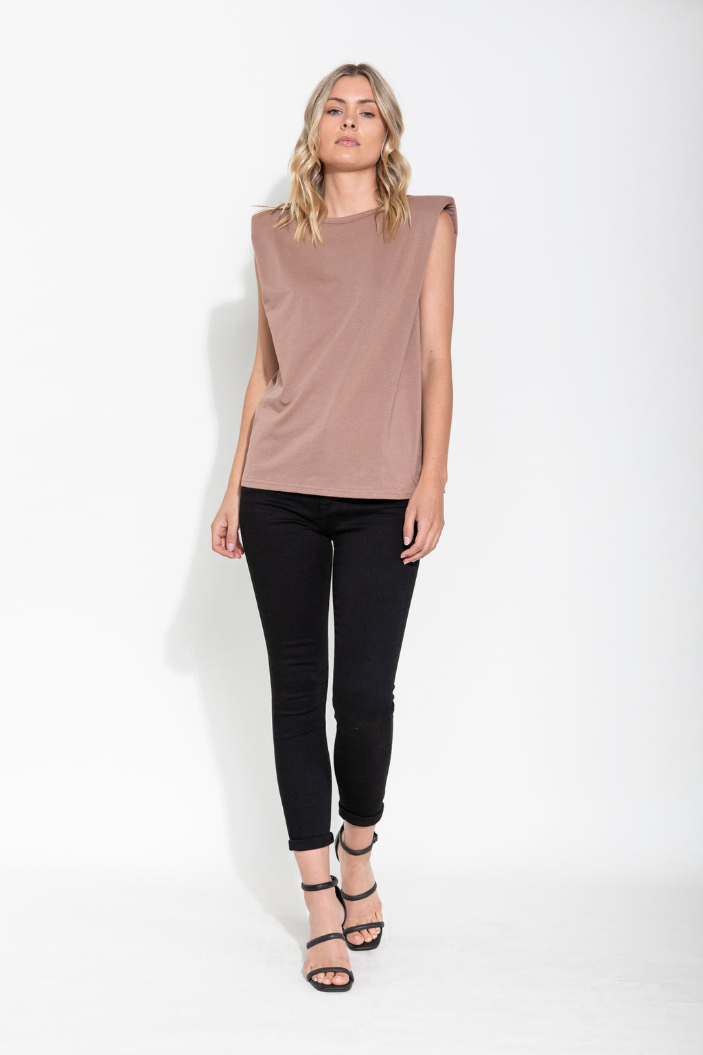 LIVIA PADDED SHOULDER TEE - NUDE