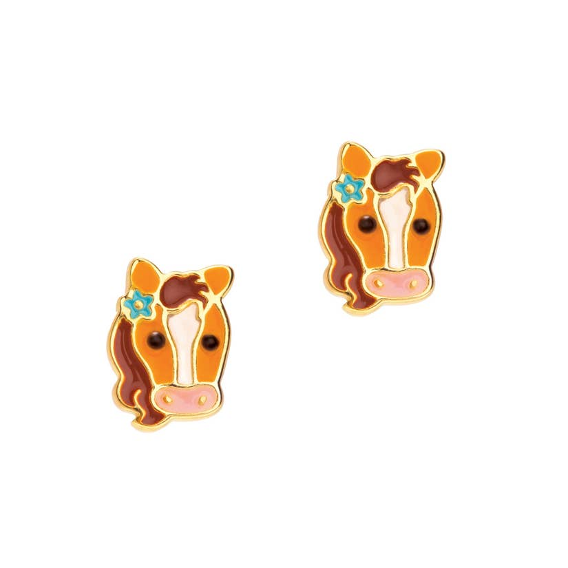 Cutie Enamel Stud Earrings/Pretty Pony