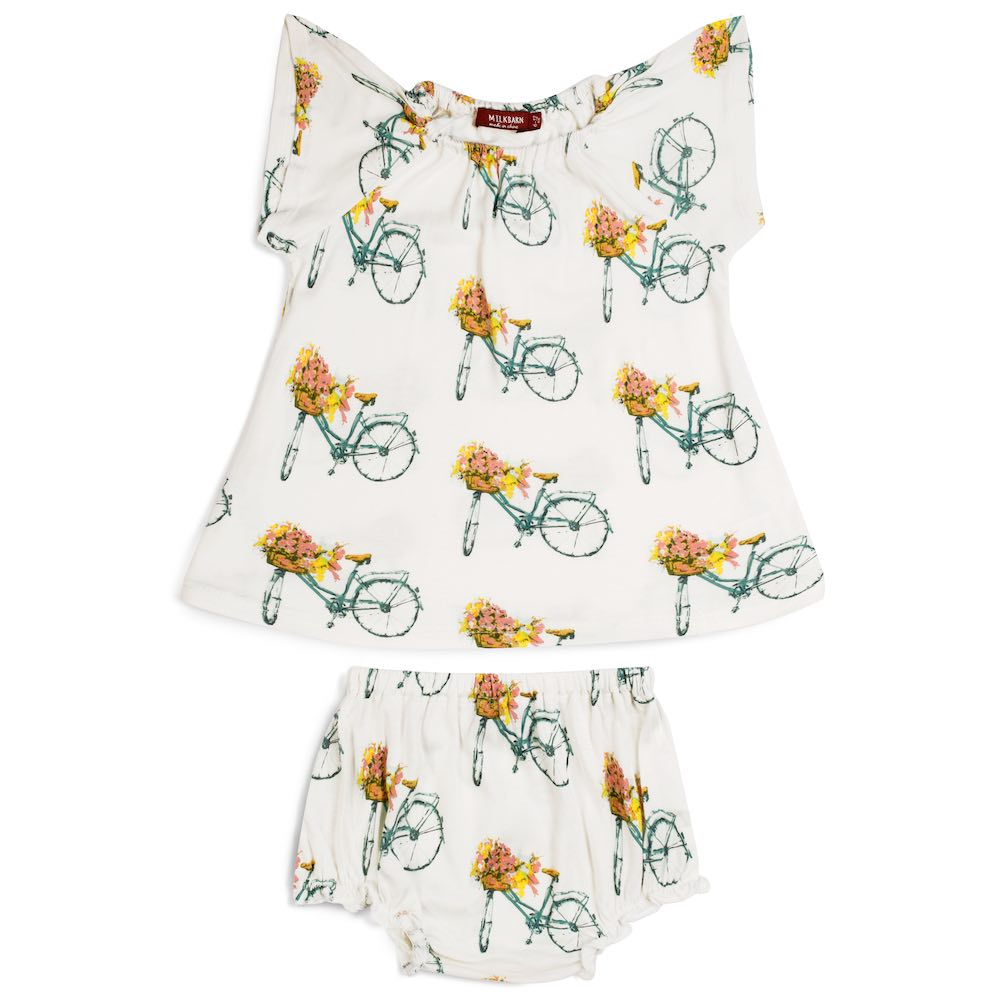 Dress & Bloomer Set/Floral Bicycle Bamboo