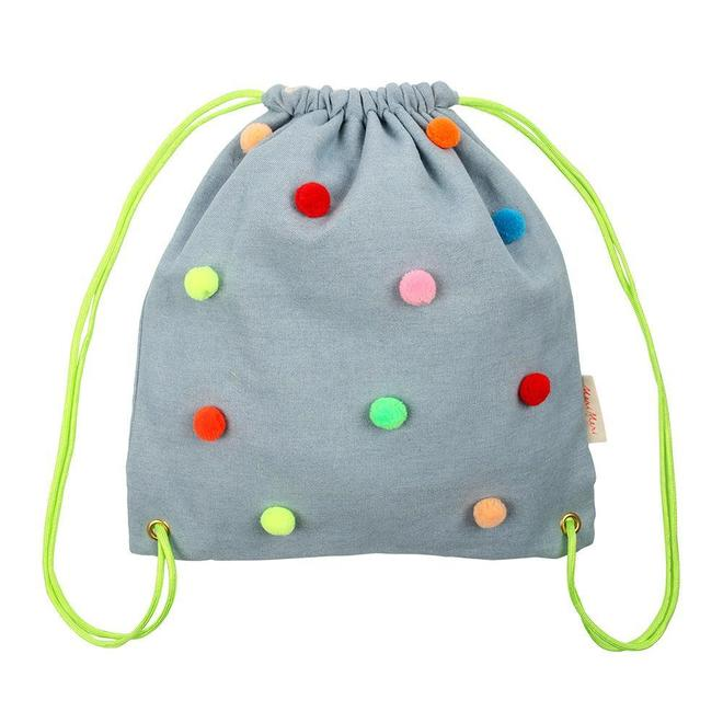 Chambray Pompom Backpack