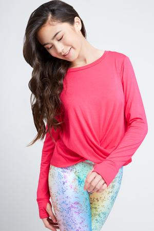 Girls Hot Pink Twist Front L/S