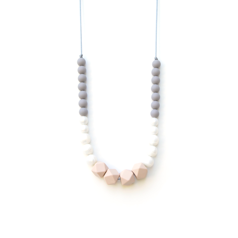 Geo Statement Silicone Teething Necklace Blush Gray