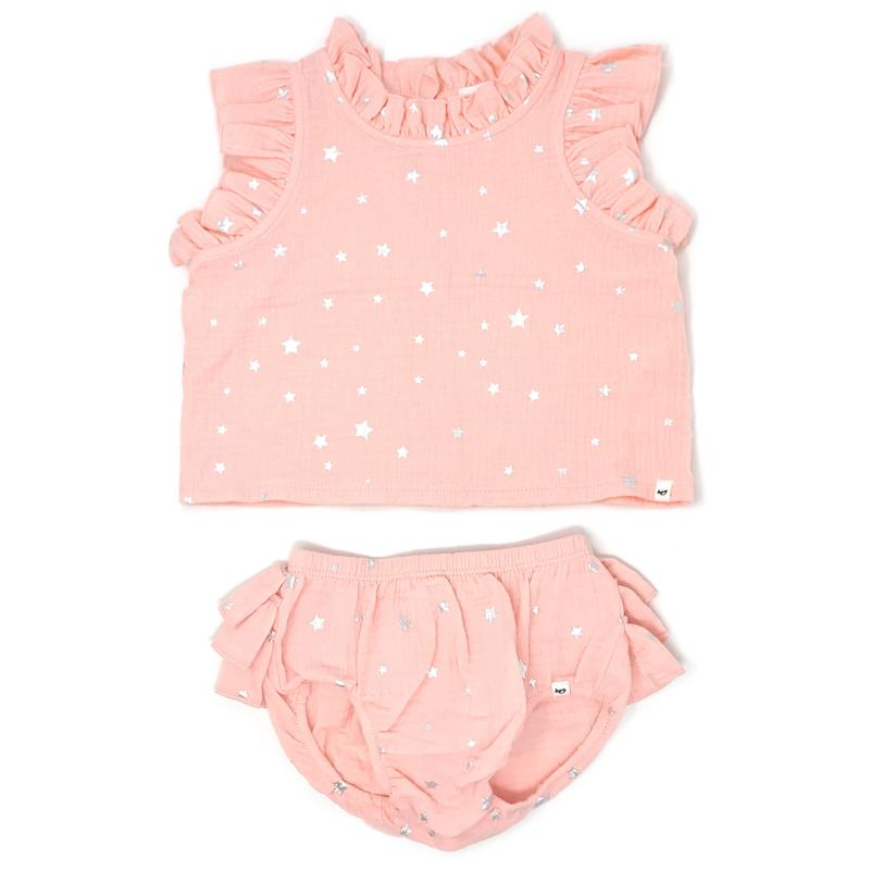 Lola Top & Tushie Set Silver Mini Stars/Pale Pink