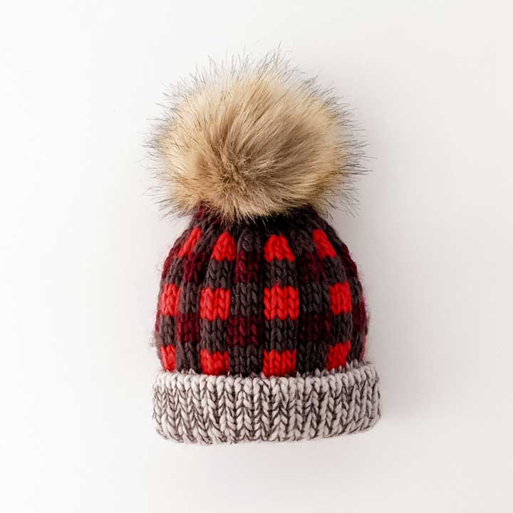Red Buffalo Check Pom Pom Beanie Hat