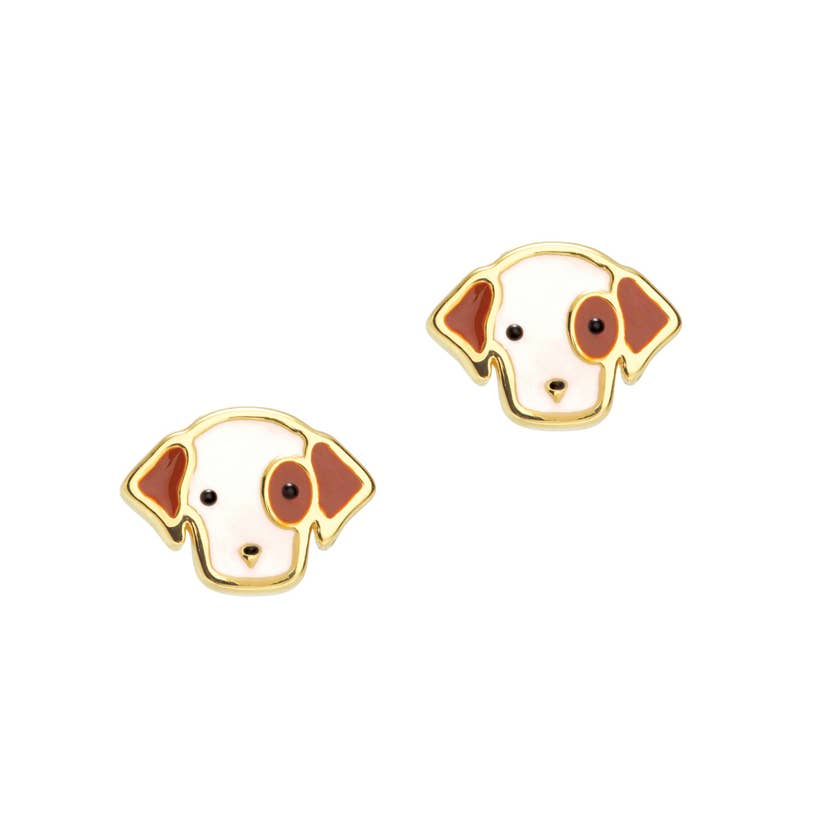 Cutie Enamel Stud Earrings/Perky Puppy