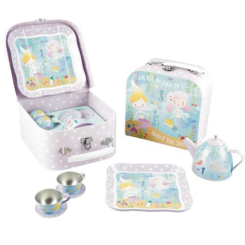 7Pc. Tin Tea Set Under The Sea