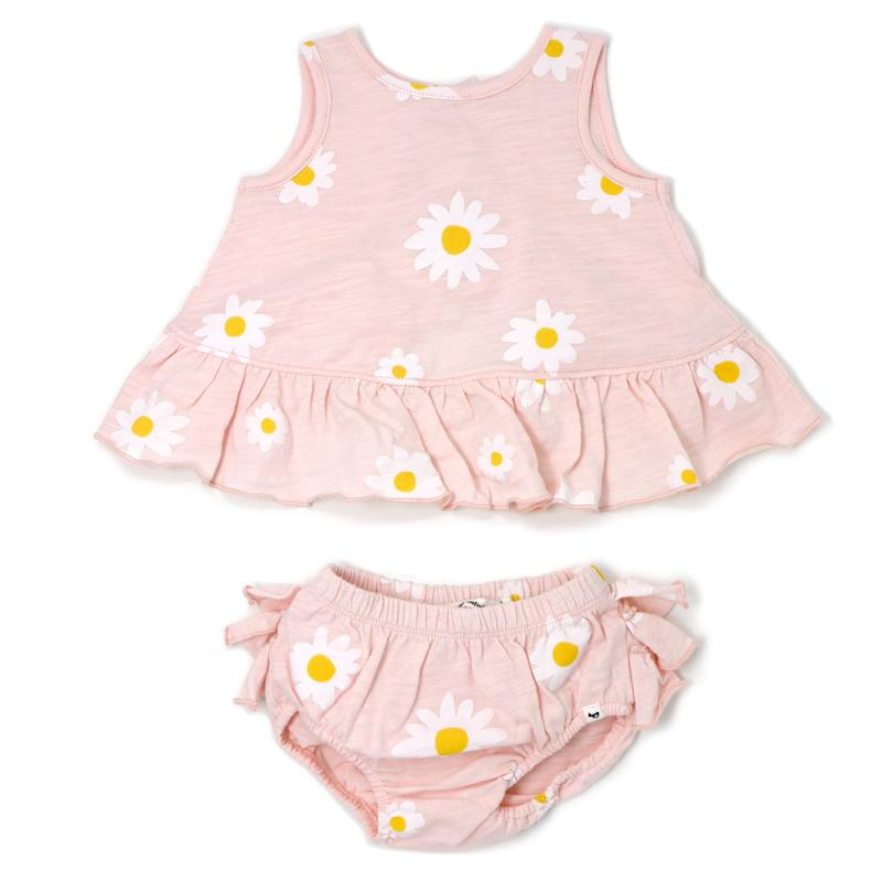 oh baby! Lola Top & Tushie Set White Daisies/Pale Pink