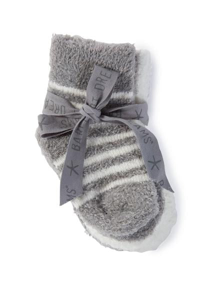 Cozy Chic Light Infant Socks- Pewter & Pearl