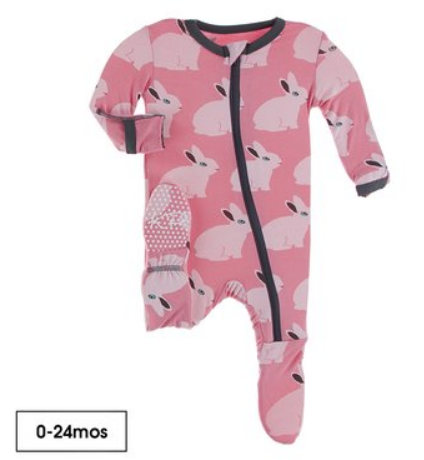 Strawberry Forest Rabbit Footie Zip-UP