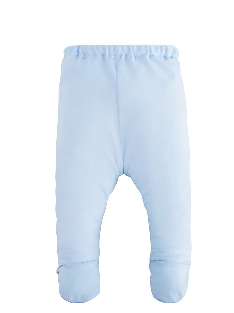 Blue L/S Side Snap Shirt & Footed Pant Set