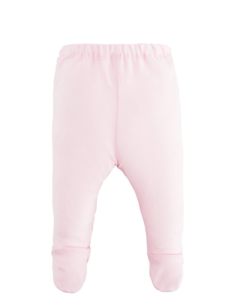 Pink L/S Side Snap Shirt & Footed Pant Set - Pink