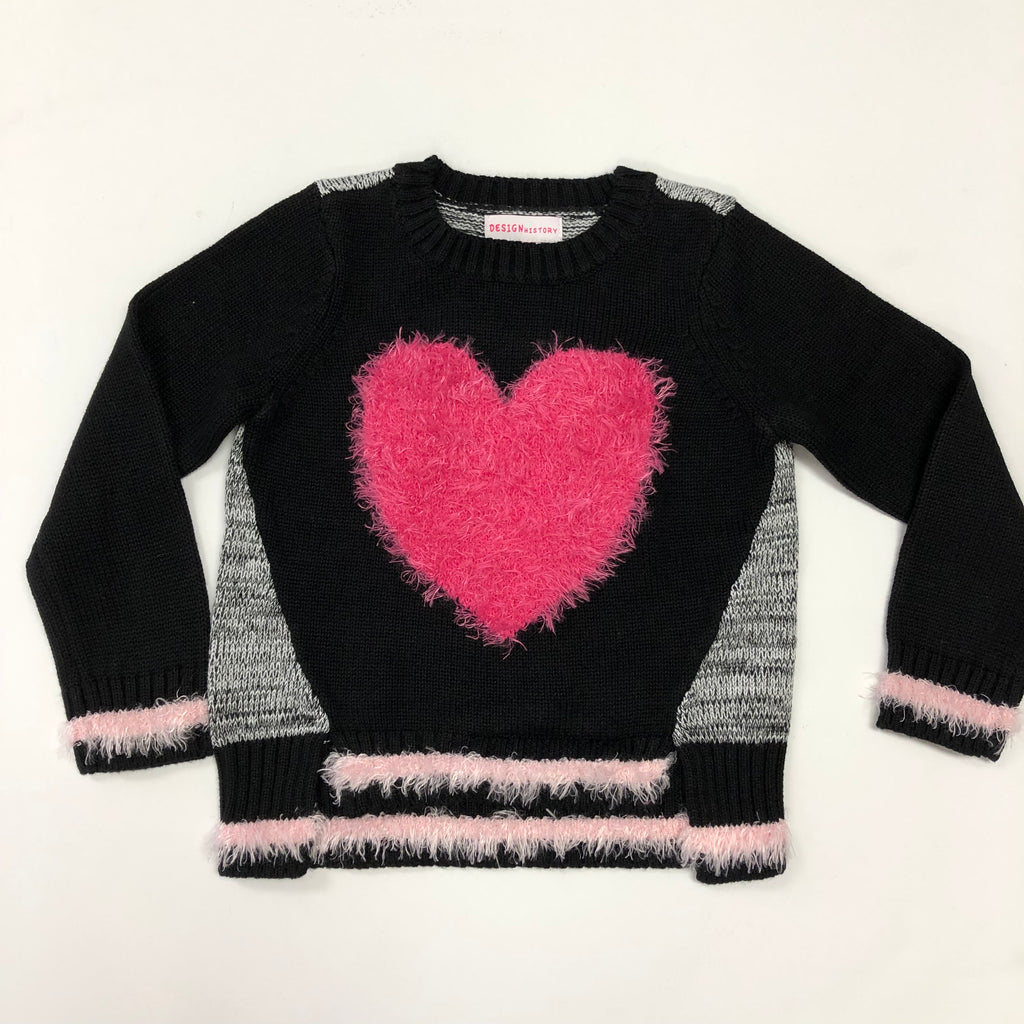 Fuzzy Pink Heart Sweater