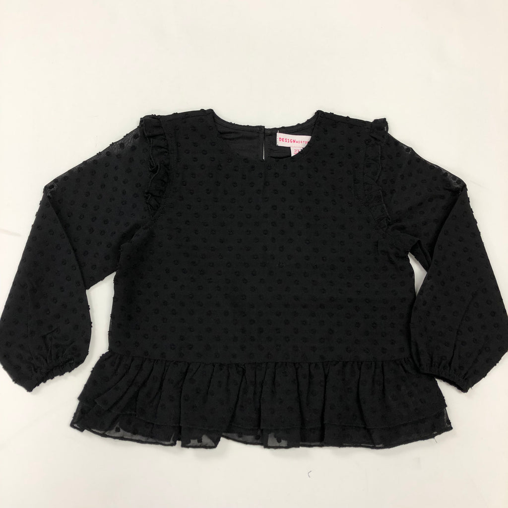 Black Swiss Dot Peplum Blouse