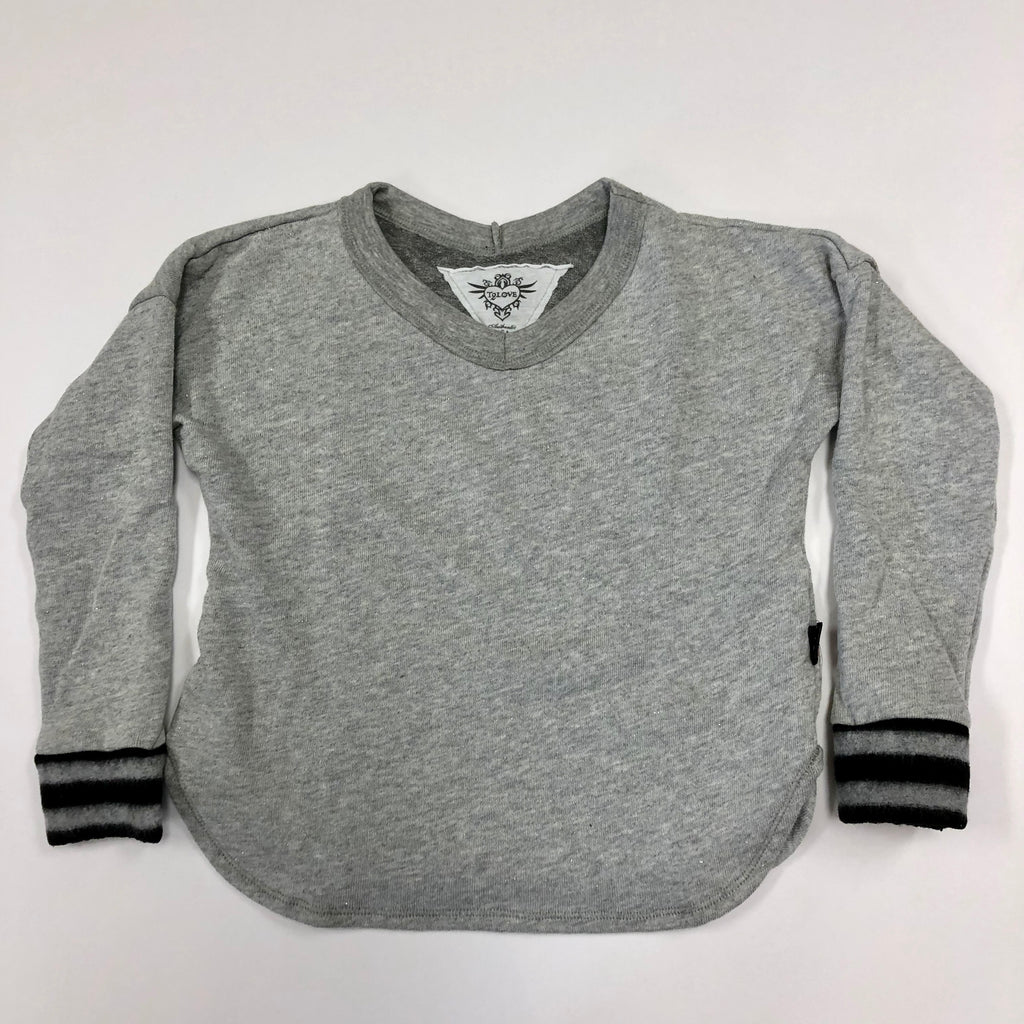 Grey Sparkle L/S Crew Neck Top