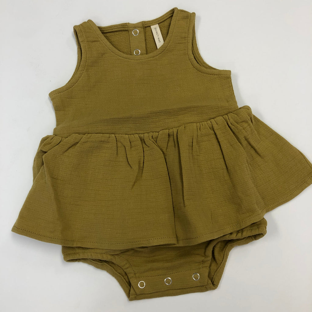 Quincy Mae Skirted Tank Onesie/Gold