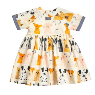 Girls Olive Puppy dress