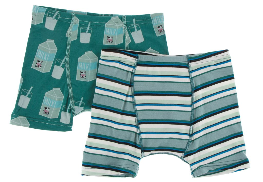 Kickee Boxer Briefs Set/ Ivy Milk-Stripe