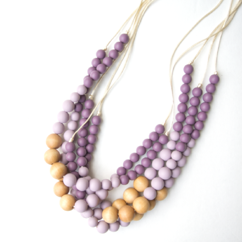 Naturalist Wood & Silicone Teething Necklace - Plum