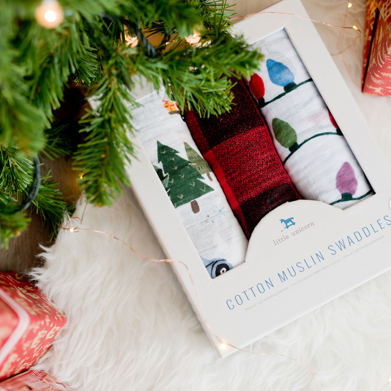 Cotton Swaddle Blanket Set- Holiday Haul