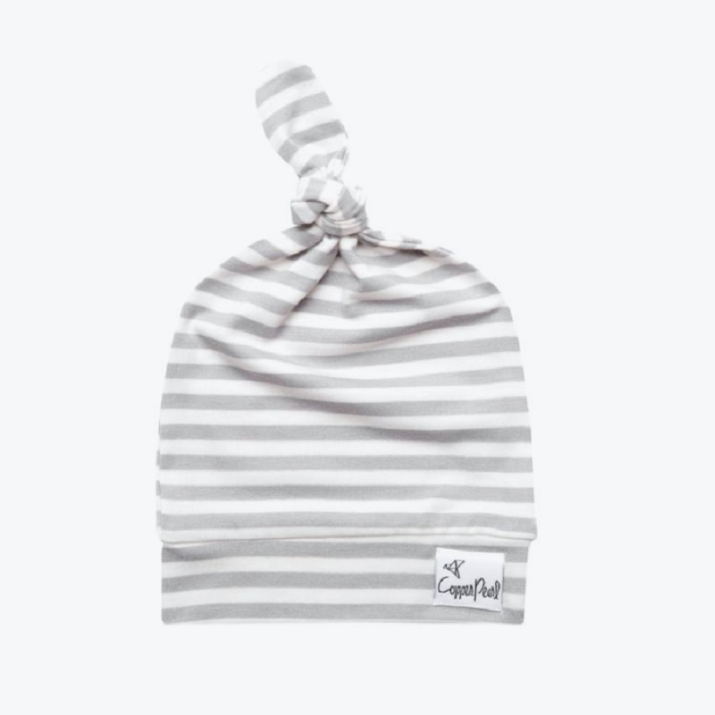 Newborn Top Knot Adjustable Hat - Everest Stripe