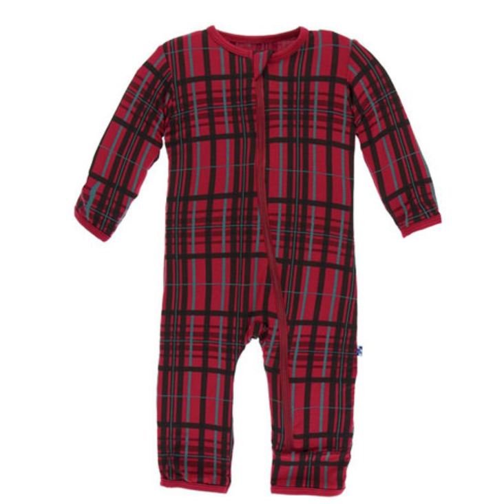Christmas Plaid Coverall with Snaps