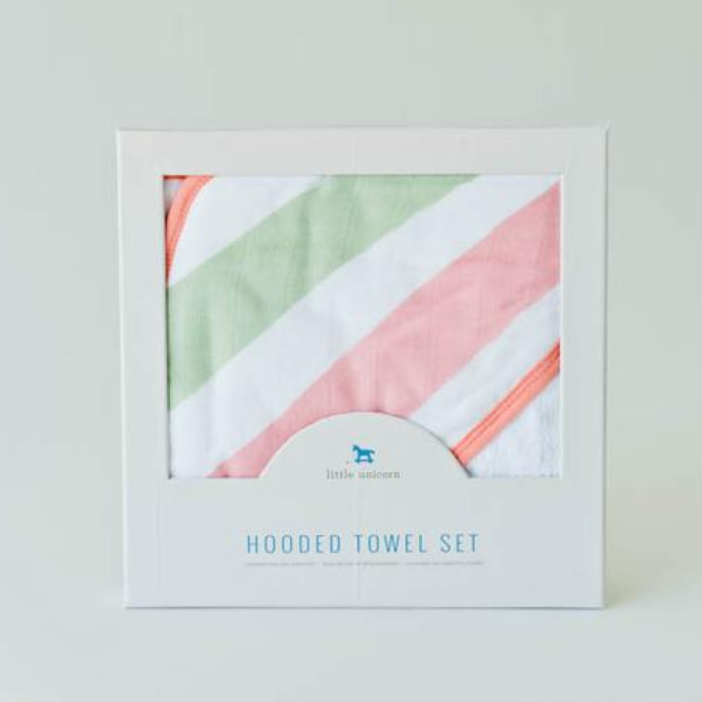 Hooded Towel Set - Cabana Stripe